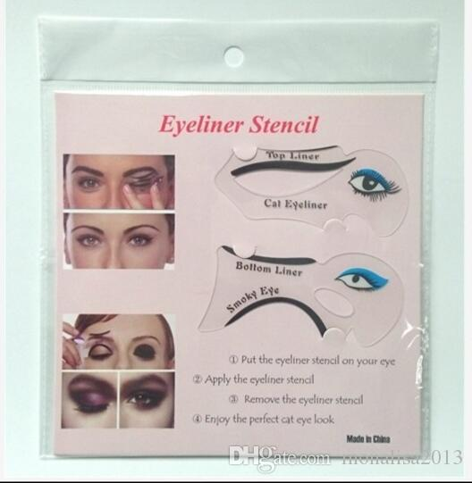 2017 6 In 1 Multifunction Eye Stencil Cat Eyeliner Stencil For Eye Liner Template Card Fish Tail Double Wing Eyeliner Stencil