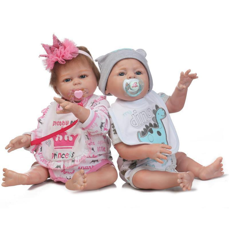 d96d4abfa27 Reborn Twins Dolls 20   Boy Girl Full Body Silicone Reborn Baby Doll Outfits  For Dolls Childrens Baby Dolls From Fashionstreet0216