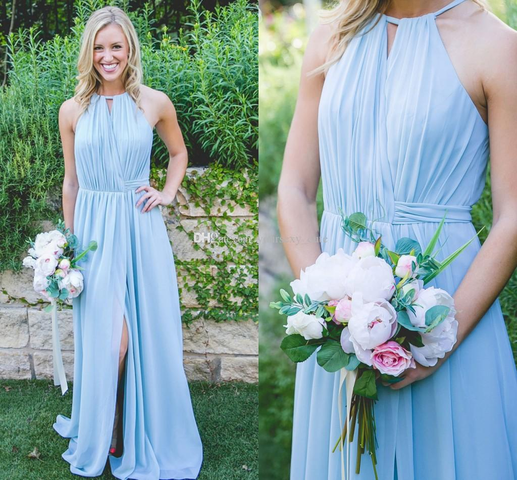 Light sky blue bridesmaid dresses pleated chiffon split floor light sky blue bridesmaid dresses pleated chiffon split floor length boho bridesmaid dresses wedding guest dress beach bridesmaid gown 2018 bridesmaid dress ombrellifo Choice Image