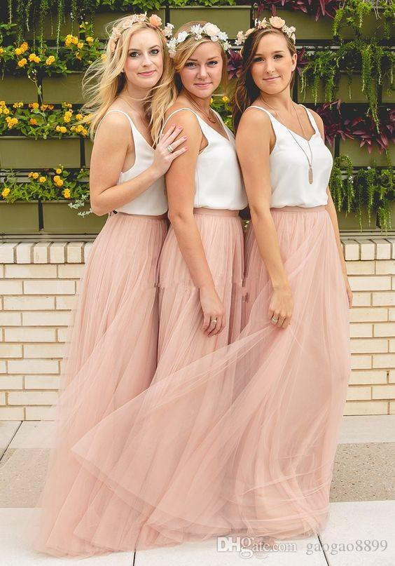 Blush Tulle Two Tone Country Long Bridesmaid Dresses 2019 Full length Elegant Boho Mumu Maid of Honor Bridesmaid Gowns Cheap