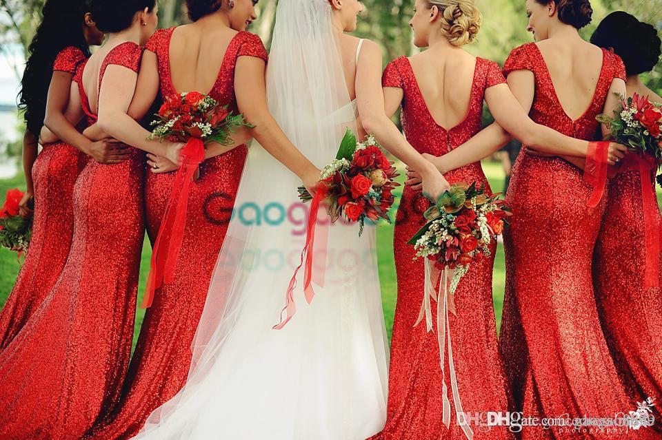 Red Sequined Sparkly Country Boho Bridesmaid Dresses 2017 Modest Backless Mermaid Cap Sleeve Junior Wedding Party Guest Gowns Cheap