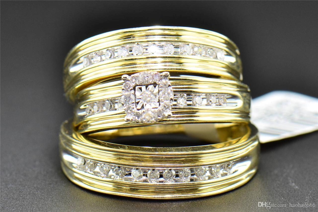 flush rg for round trio diamond white wedding engagement ring sets set matching with jewelry in rings rose cut gold nl couples