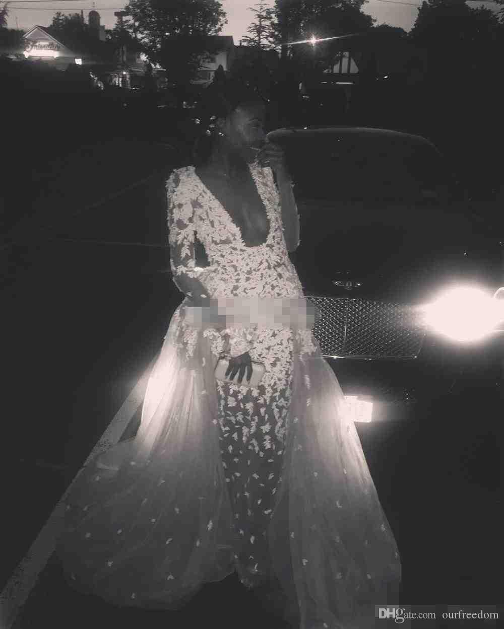 2019 Zuhair Murad Şampanya Tül Pageant Uzun Elbiseler ile Ünlü Elbiseleri Illusion V boyun Dantel Aplike Örgün Akşam Balo Abiye