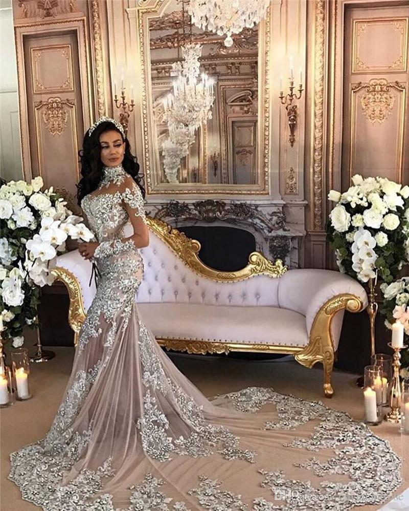 Luxury Sexy Mermaid Wedding Dresses With Detachable Train Lace Appliques  Rhinestone Over Skirt Bridal Gowns Removable Skirt High Neck Cheap Mermaid  Dress ... ffaccb901df6