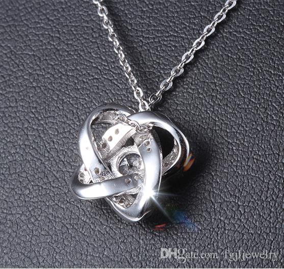 China genuine 925 sterling silver pendant high quality white gold plating baby white and purple cubic zirconia jewelry