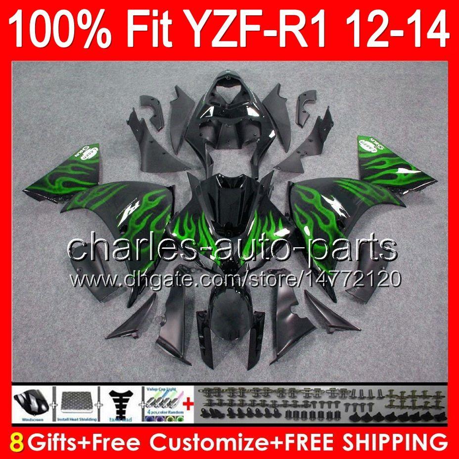 8gifts Injeção Para YAMAHA YZF-R1 12 13 14 YZF R1 12-14 96NO60 brilho preto YZF YZF 1000 YZF R 1 YZF1000 YZFR1 2012 2013 2014 TOP Verde Carenagem