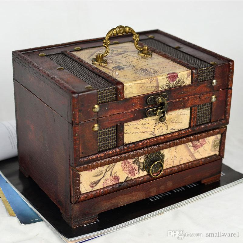 2017 Jewelry Boxes Jewelry Packaging Retro Wooden Antique Jewelry ...