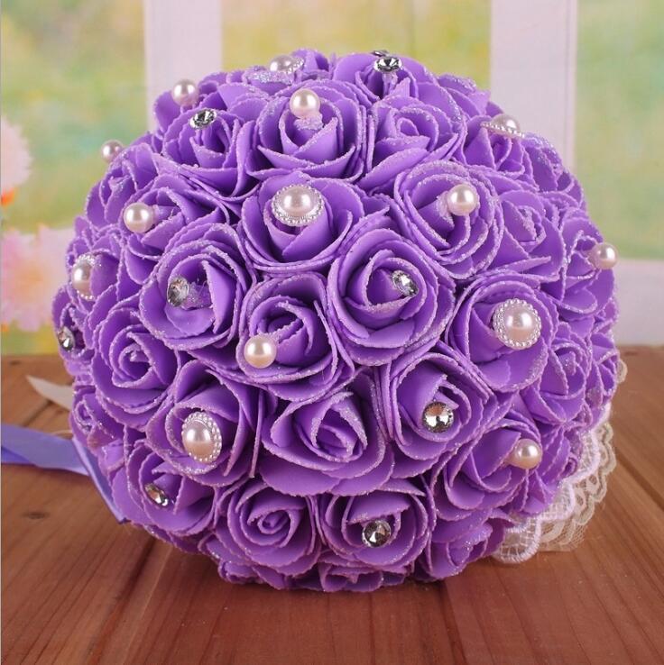우아한 PE 로즈 인공 꽃 꽃다발 꽃다발 웨딩 부케 크리스탈 진주 로얄 블루 실크 레이스 리본 꽃