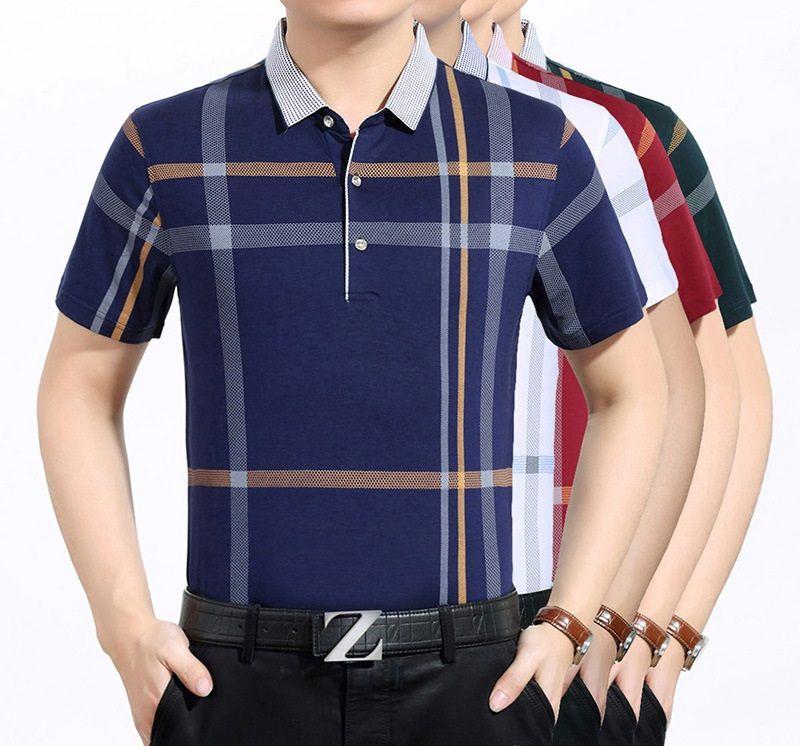 e2997a8f8 Polos Men Striped 50 52 54 Sizes Fashion Camisa Polo Cotton Button ...