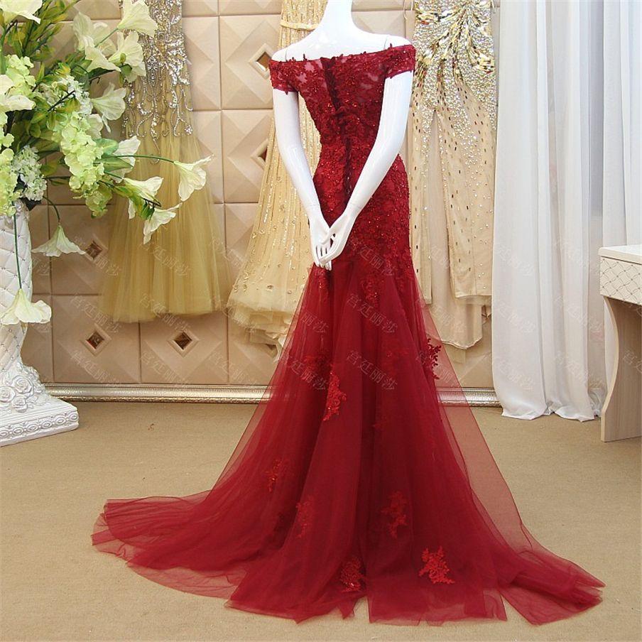 Customization Wine Colored Evening Dresses 2019 Appliques Lace Beaded Off the Shoulder Mermaid Prom Dress Vestido Longo