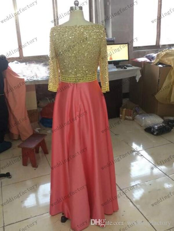 Echte afbeelding bescheiden prom jurk met mouwen hoge kwaliteit luxe kralen pailletten kristallen parels gouden koraal avond feestjurken gemaakt om te bestellen