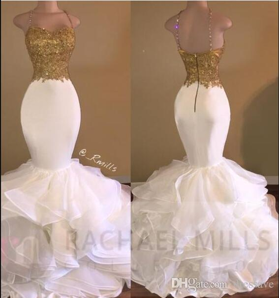 2018 Sexy Ouro Branco Ruffles Lace Sereia Vestidos de Baile Cintas de Espaguete Sem Mangas com Contas de Seda De Cetim Saia Tapete Vermelho Vestidos de Noite