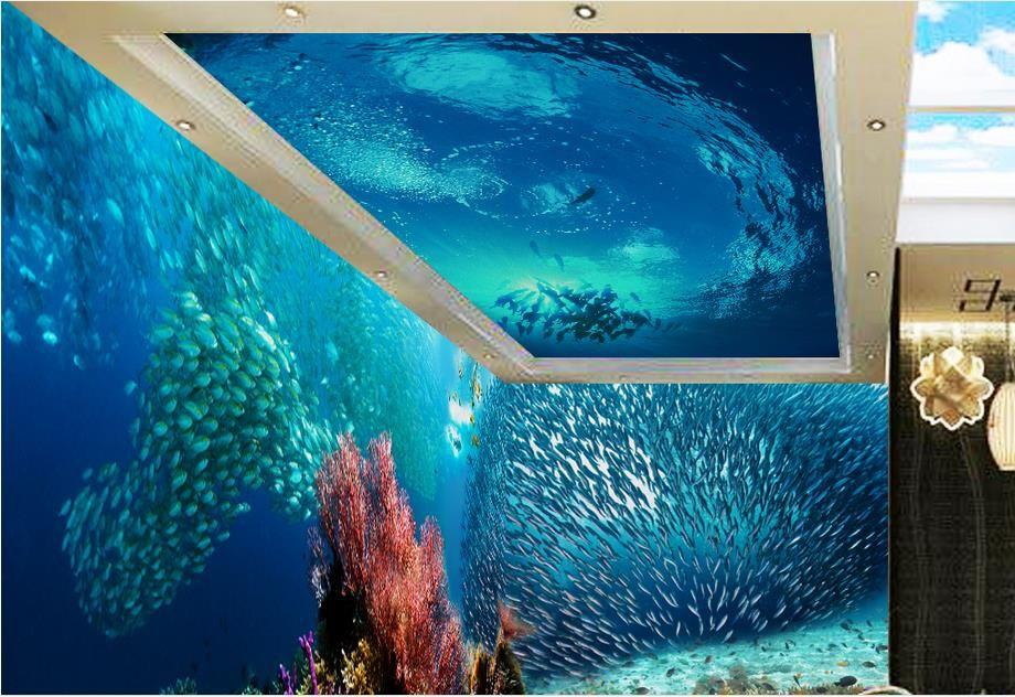 Настроенные 3d потолочные обои European Ocean World для стен 3d потолочные фрески обои для гостиной потолочные