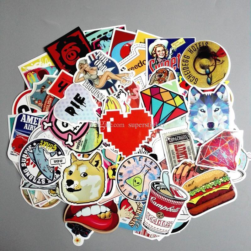Pack Cute Stickers Skateboard Vintage Vinyl Sticker Laptop Luggage - Vinyl stickers for laptops