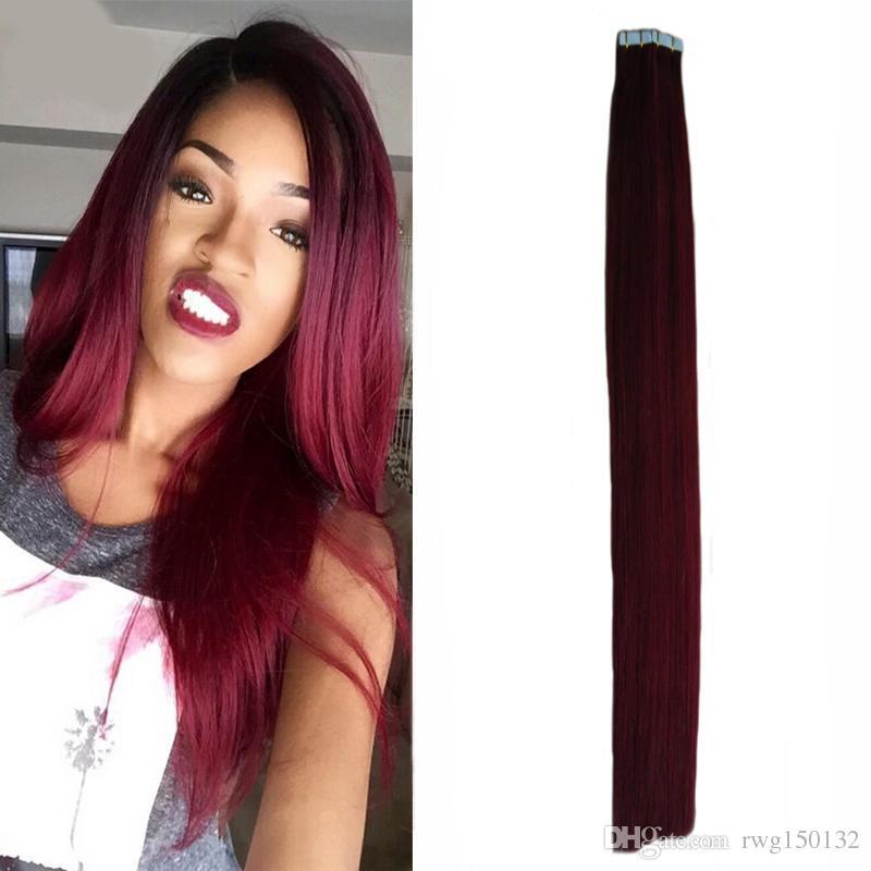 Brazilian human skin weft tape hair extensions 99j red wine human see larger image pmusecretfo Choice Image