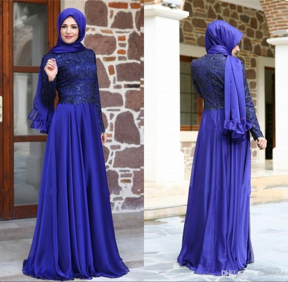 079affdc5c Newest Turkish Muslim Evening Dresses Hijab Long Sleeves Lace Chiffon A  Line Royal Blue Formal Party Gowns 2017 Evening Dresses For Cheap Evening  Dresses ...