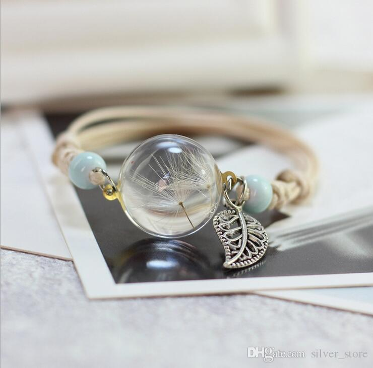Blumen Pflanzenproben Armband Glaskugel Löwenzahn Kleid Freundin Freundin Geschenk SSB107 Mischungsauftrag 20 Stücke viel Charm Bracelets