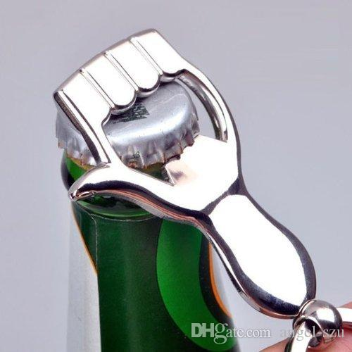Hand shaped Keychain Metal Wine Bottle Opener Beverage Can Opener Zinc alloy Customed Logo Support Gift B103Q