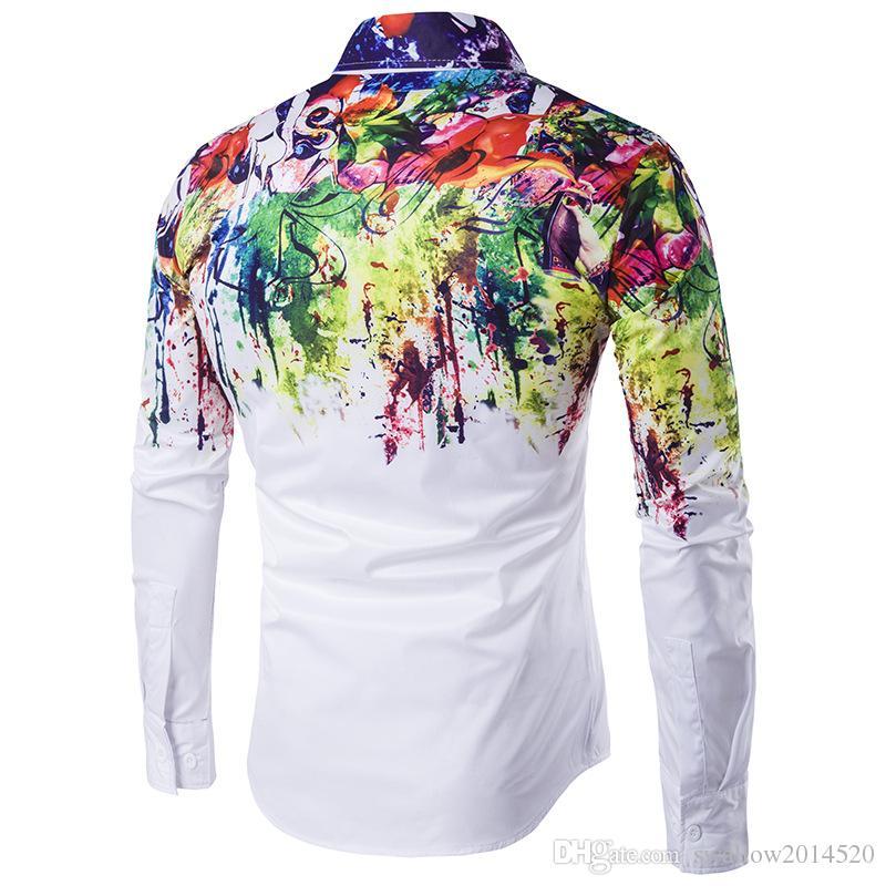 3 Styles Inked Shirts Man Fashion Shirt Pattern Design Long Sleeve Paint Color Print Slim Fit man Casual Shirt Men Dress Shirts