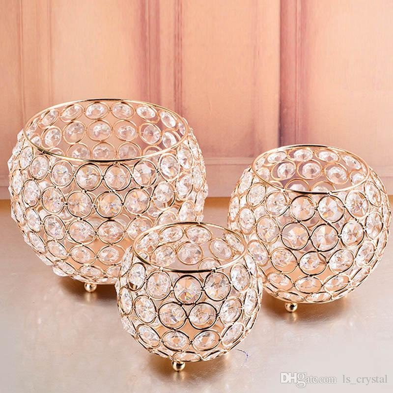 3 Size European Style Gold Crystal Glass Candle Holders Lantern for Wedding Centerpieces Home Decoration DEC223