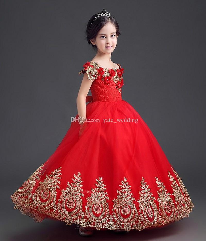 Elegante Vermelho Princesa Meninas Pageant Vestidos Off Ombro Applique Até O Chão vestido de Baile Pageant Vestidos Para Adolescentes Meninas Da Criança Flor Vestido