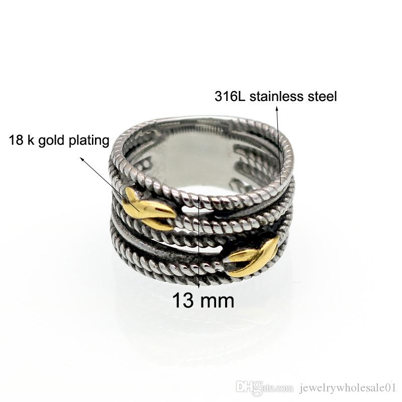 The big European and American female ring twisting line between the titanium gold ring wide cross SIGN RETRO infinite ring