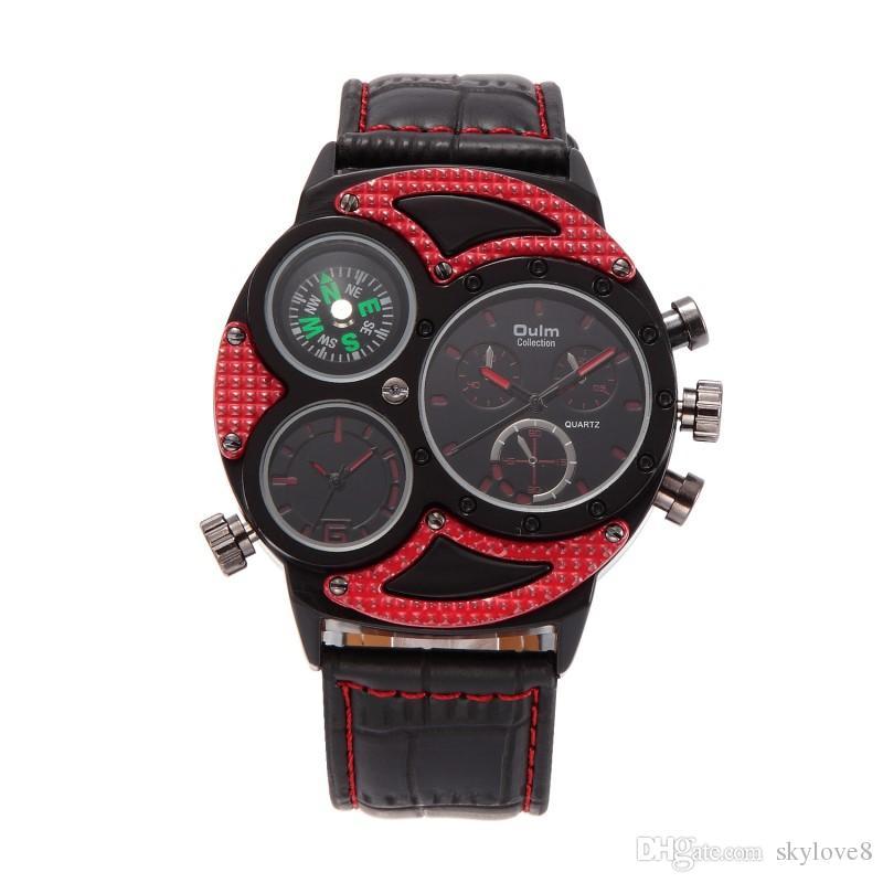 New hot OULM 3594 men's business casual fashion import quartz movement x2 watch Mineral reinforced glass mirror belt business watch