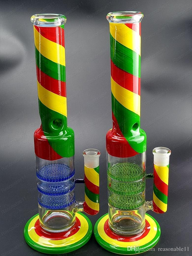 39 cm Bong Glass Pipa que Fuma Pipa de Agua Quemador de Aceite Burbujas Dab Rig Recycler Colorfull Pintura Bol de Vidrio 18mm