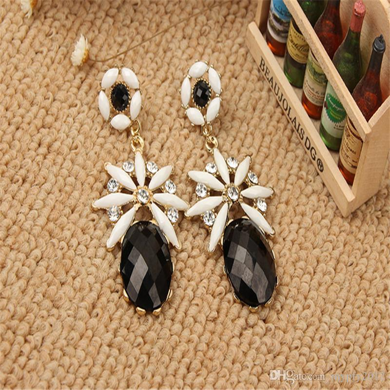 New Bohemian Long Flower Dangle Drop Earrings For Women Colorful Resin Crystal Tassels Vintage Jewelry Earring mixed