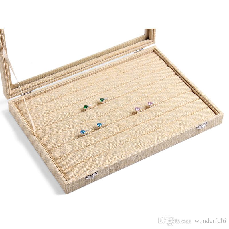 High Grade Linen Ring Box Jewelry Case Rings Earrings Showcase Jewelry Storage Box Necklace Display With Glass Cover