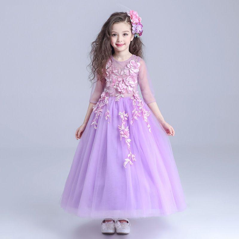Compre Vestidos De Los Niños Decoración De Flores Princesa Vestido ...