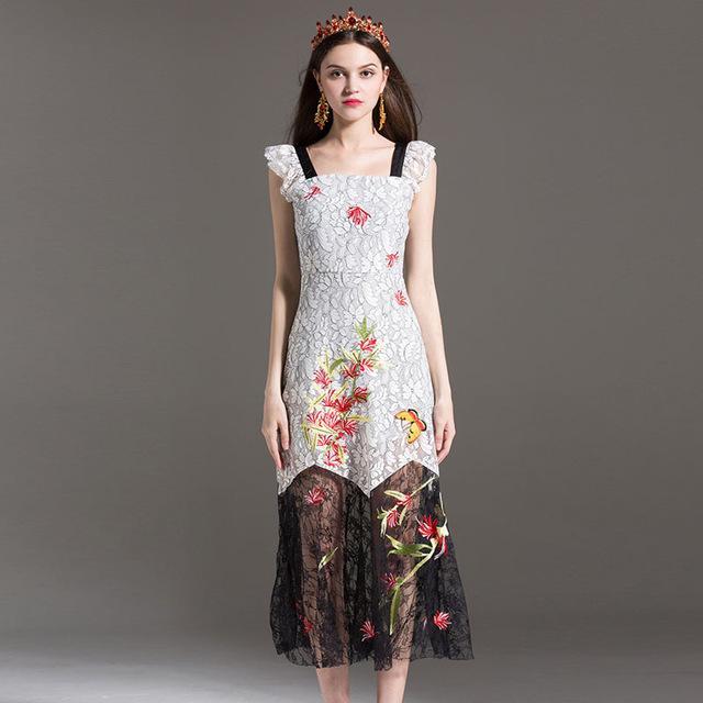 04cdcb0d795b2 High Quality Summer Designer Runway Dress 2017 Women Elegant Square Neck  Embroidery Lace Strap Dress Plus Size Midi Party Dress