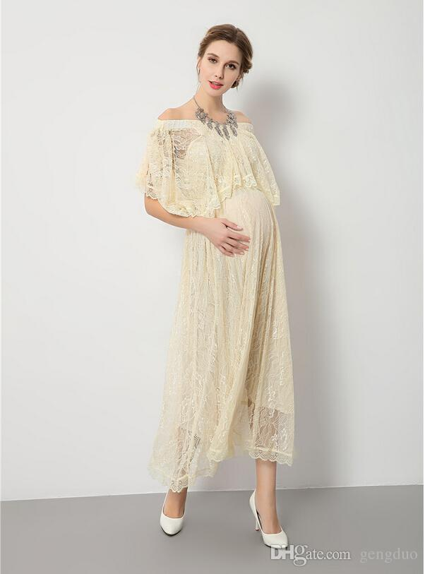 76354b96129 2019 Lace Maternity Dresses For Photo Shoot Pregnant Women Dresses  Maternity Gown Pregnancy Dress Photography Props For Expectant Mother From  Gengduo
