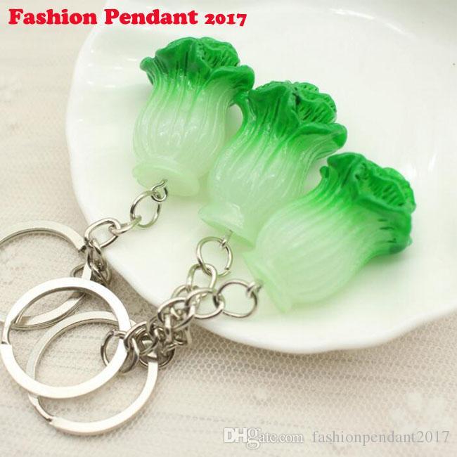 Chinese Cabbage Plastic Charm Vintage Silver Keychain Ring For Keys Car DIY Bag Key Chain Handbag Jewelry Gift dhl shipping