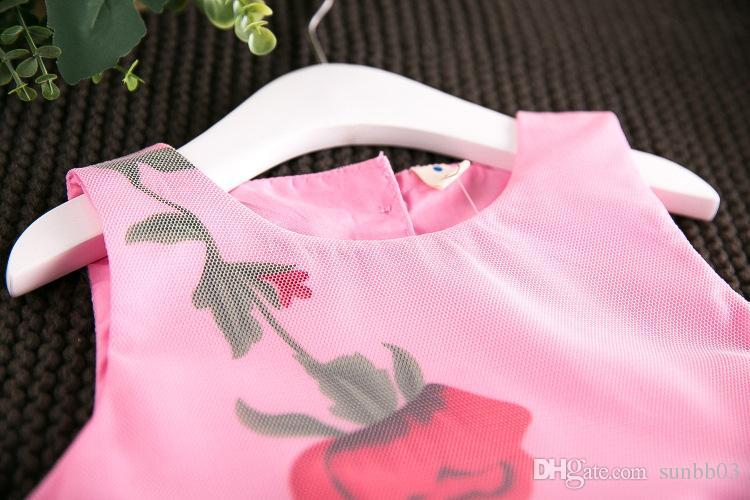 2017 девушки дети цветочный принт тюль кружева лук платье Лето оборками розовый и белый цвет Принцесса праздник платья 13082