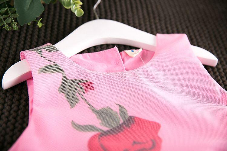 2017 Mädchen Kinder Blumendruck Tüll Bogen Kleid Sommer Rüschen Rosa und Weiß Farbe Prinzessin Urlaub Kleider 13082
