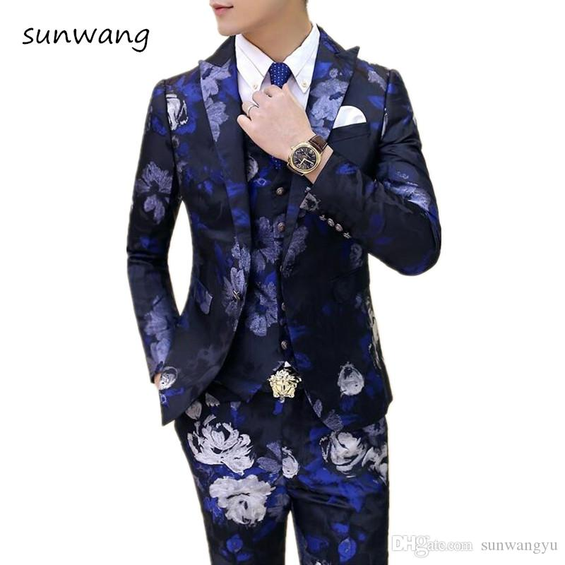 2018 Jacket+Vest+Pant Fashion Custom Made Wedding Dress Mens Italian ...