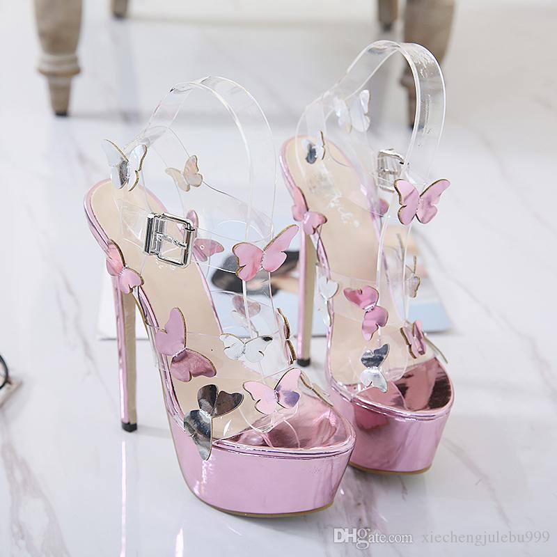 16 cm high heel sandals European/American sexy peep-toe stilettos waterproof butterfly color matching one word cingulate purple transparent