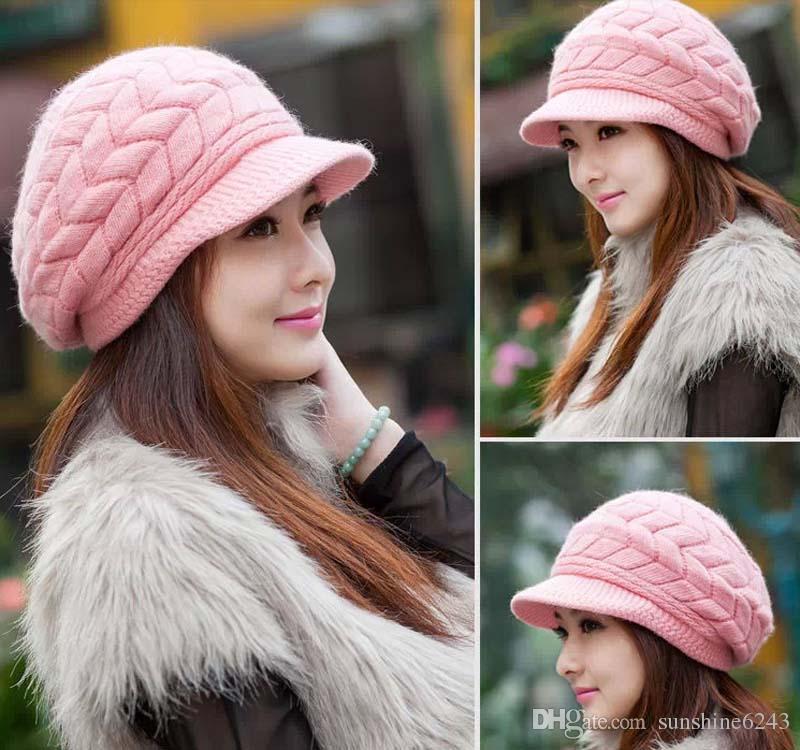Korean New Arrival Elegant Women Knitted Hats Rabbit Fur Cap Knitted Hat Autumn Winter Ladies Female Warm Hat