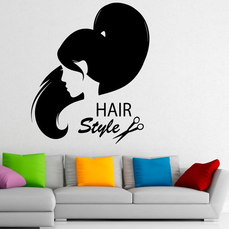 Waterproof Wall Decals Hairstyle Hair Salon Vinyl Home Decor Wall ...