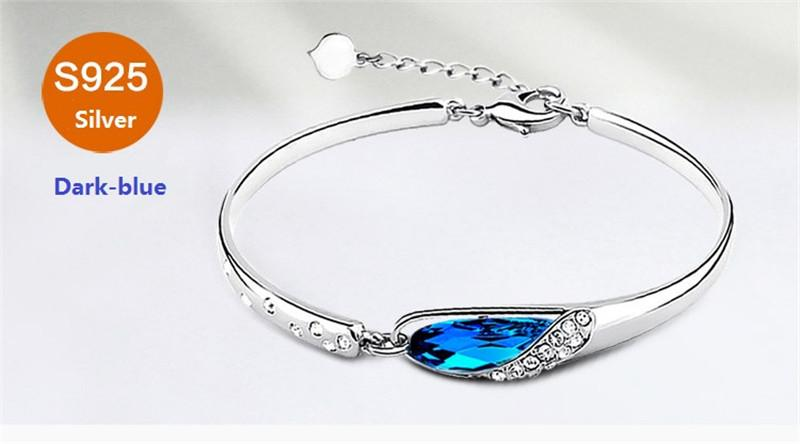 925 Sterling Silver Blue Crystal Fashion Bracelet Austria Natural Crystal Bangle Female Bracelet Pure Silver For Women High Quality Jewelry