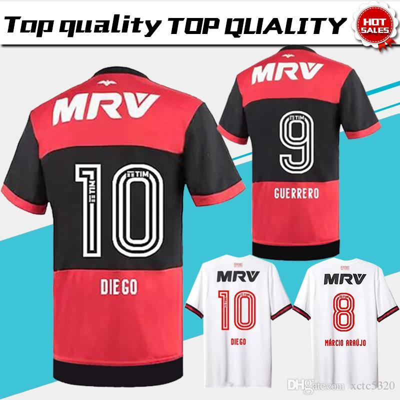 543d695b9 Flamengo Home Red Black Soccer Jersey 2017 Flamengo Away White ...