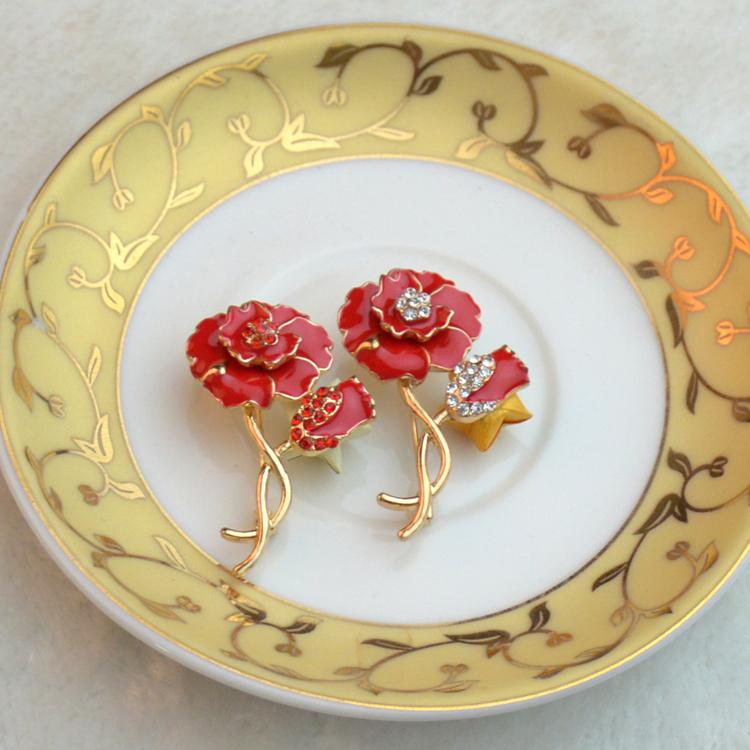 New Red Poppy Flower lapel pin Brooches for women Jogos Vorazes Rhinestone Brooches Wedding Flower Brooch Bouquet X1623