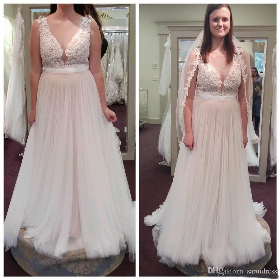 Линия Tulle Wedding Bridal Pressal Chare Champted Chare Train Train Wedding Pown Weathing Country Wedding платья кружева плюс размер