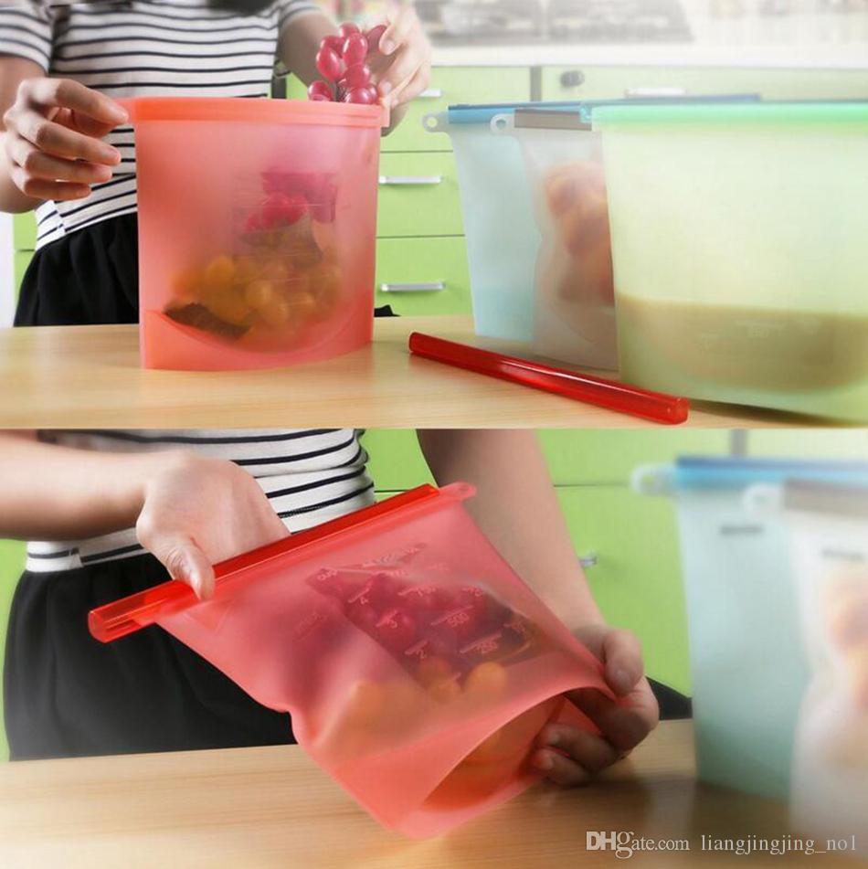 reusable سيليكون الغذاء حقيبة الطازجة الأغطية الثلاجة تخزين الحاويات ثلاجة أداة مطبخ أكياس البريدي الملونة 4 ألوان OOA2986