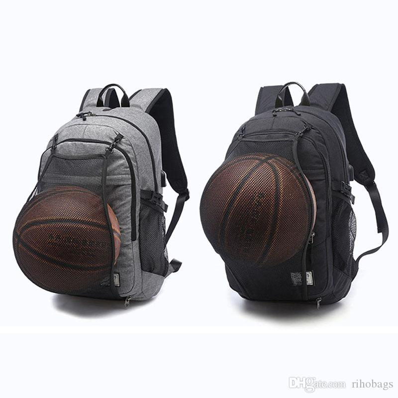 2019 Large Men Backpack Canvas USB Charger Port Basketball Football Backpack  15 Inch Laptop Backpack From Rihobags 5d6721b720263