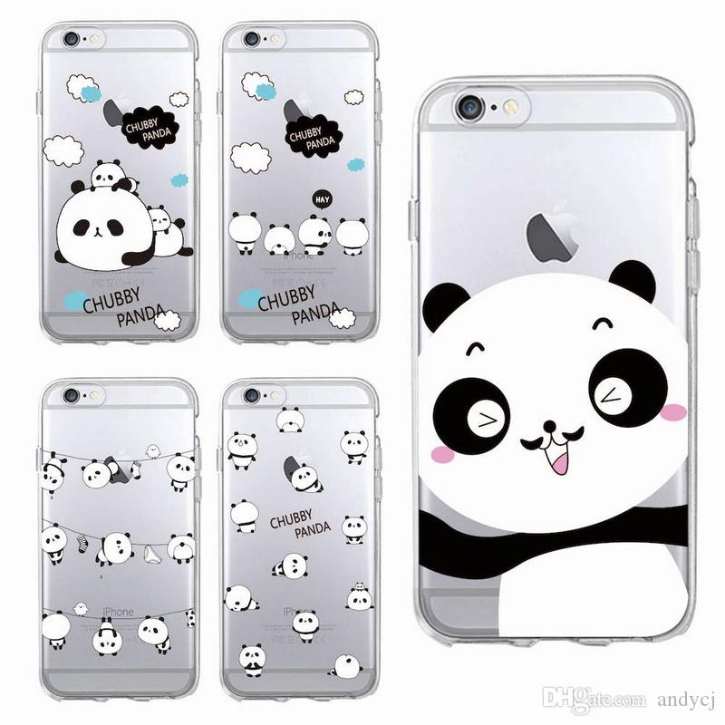 d407b17b9c Cute Animal Panda Soft Transparent TPU For IPhone 5 5s 6 6s 6Plus 7 Plus  Samsung S5 S6 S7 S8P Clear Cell Phone Cases Protective Cell Phone Cases  From ...