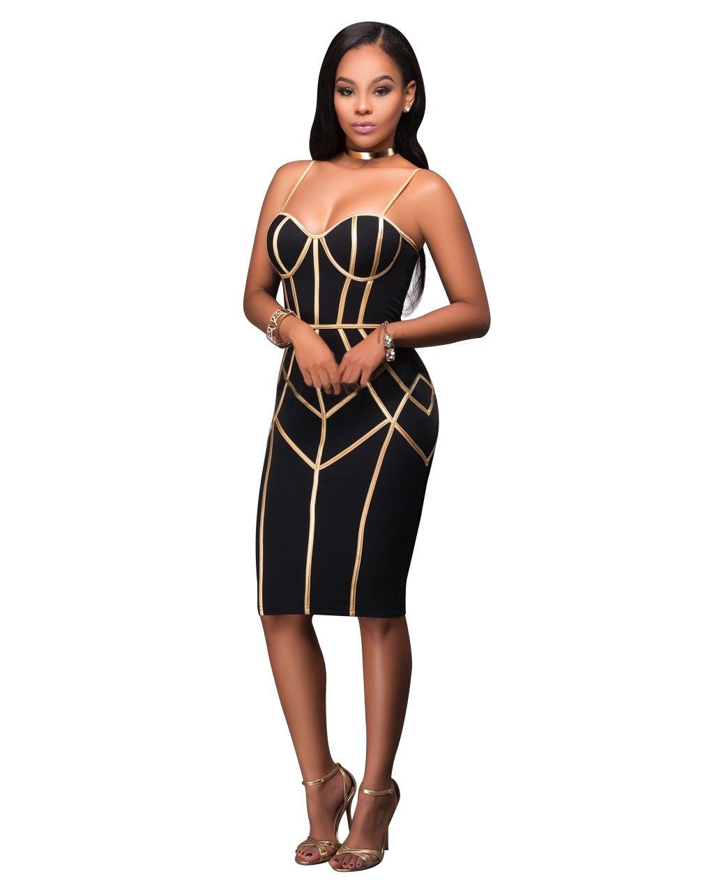 Feminino Preto e Alça de Ouro Zipper Bandage Keen-comprimento Vestido Mulheres Sexy Sem Mangas Bodycon Club Wear Vestidos Casuais