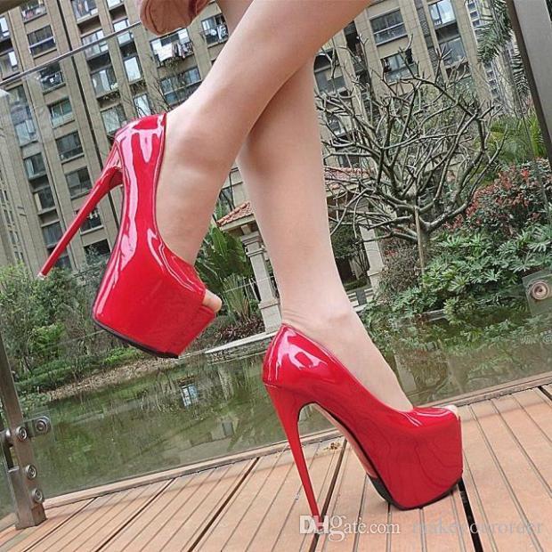 Großhändler freier Verschiffenfabrik klassischer Blickzeh versteckte reizvolle Plattformhohe Ferse rote Farbe 17cm Patent weddingg Schuh 148