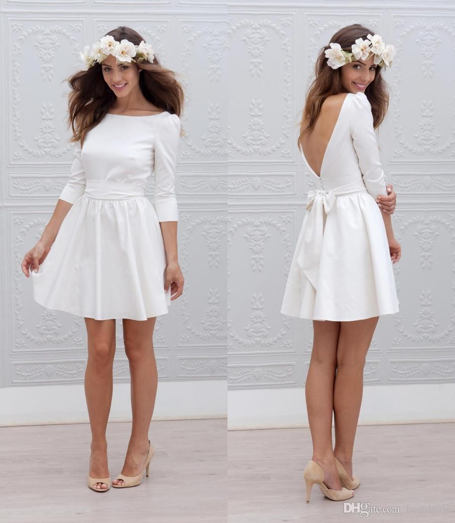 Discount Designer Short Mini Reception Wedding Dresses 2017 A Line 34 Sleeves Sash Simple Sexy Open Back Casual Informal Bridal Gown New Vintage Inspired: Very Simple Wedding Dresses Casual At Reisefeber.org